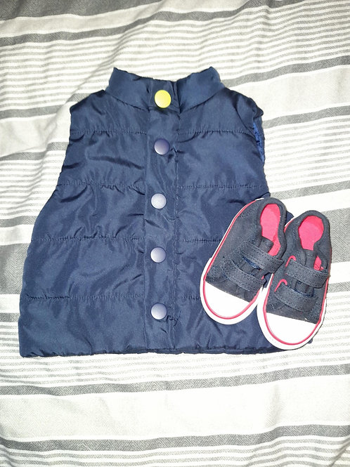 Baby gilet and shoes set - Dylan & Abbey 0-3m (shoe size 2)