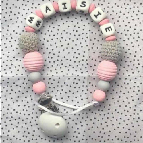 Personalised pink grey dummy clip