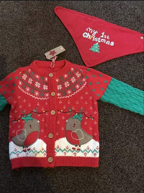 3-6 month Christmas cardigan brand new with bib Delivery available or collect BL