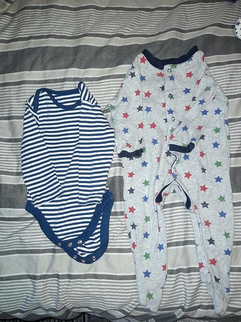 Star vest and Babygrow 6-9m