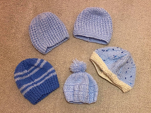 Hand knitted baby boy hats newborn/tiny baby