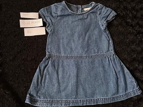 Denim Dress - Next	 9-12m
