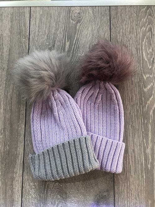 Lilac bobble hat - newborn-infant