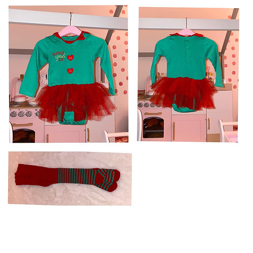 George 2pc elf tutu outfit 12/18m