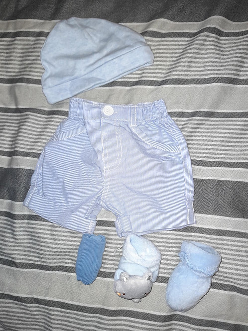 Blue hat and shorts with socks 3x bundle 3-6m