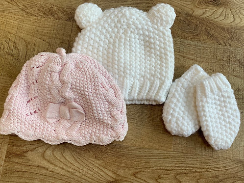 Girls hat and mittens. George 0-3m and Next 3-6m