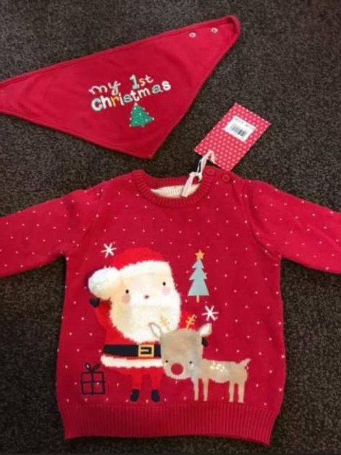 6-9 month Christmas jumper brand new with bib