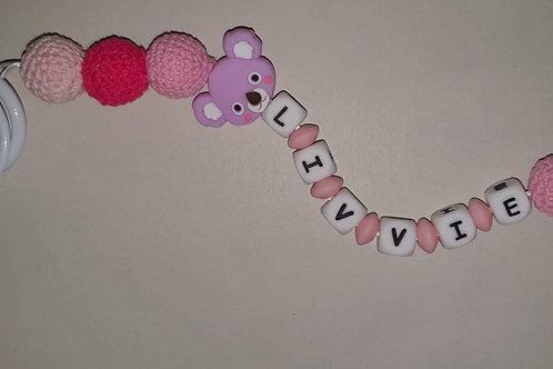 Pink personalised teddy bear dummy clip