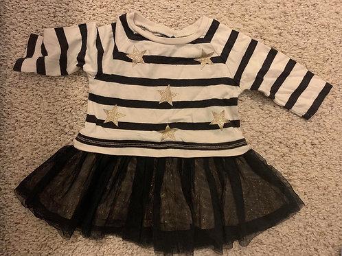 Black & Cream Star & Stripe Dress Next  3-6 m