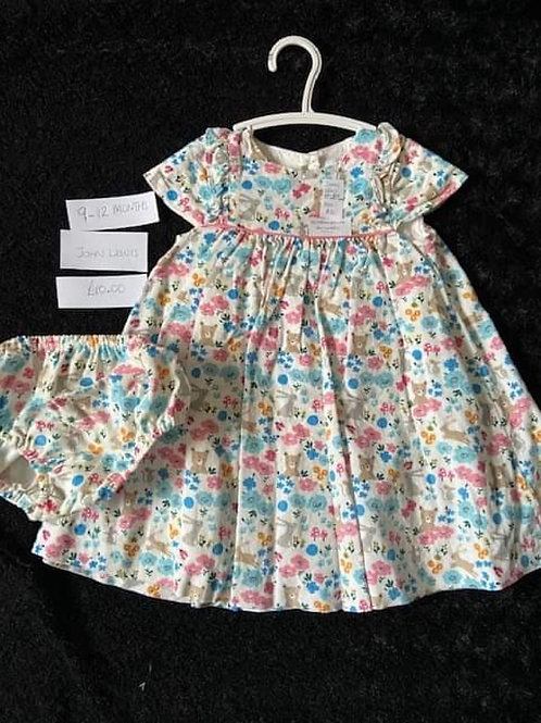 Teddy/Rabbit Dress & matching knickers - John Lewis 	9-12m