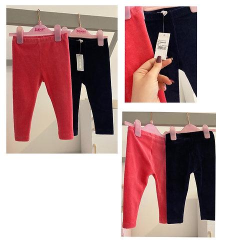 Blue zoo velvet leggings navy bnwt pink used 12/18m