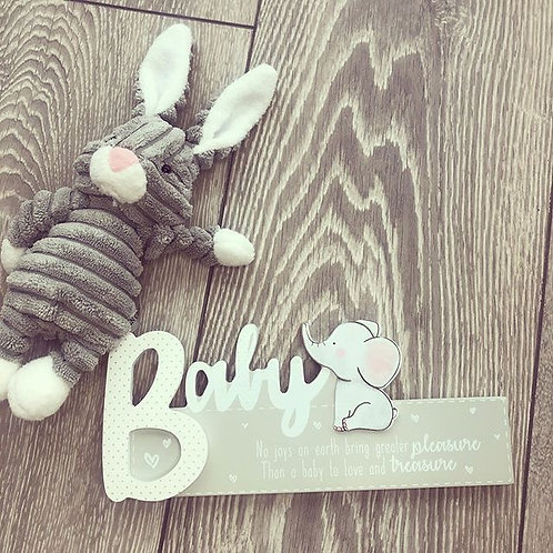 Elephant baby sign plaque