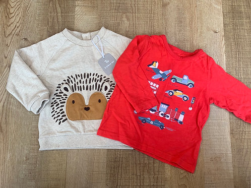 Boys M&S top and Tu jumper 6-9m