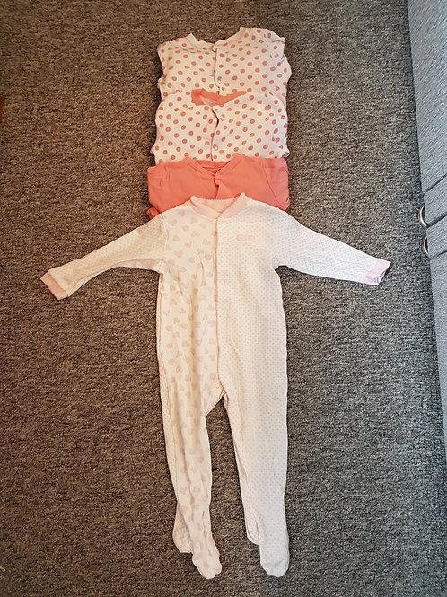 Girls sleepsuits 12-18m