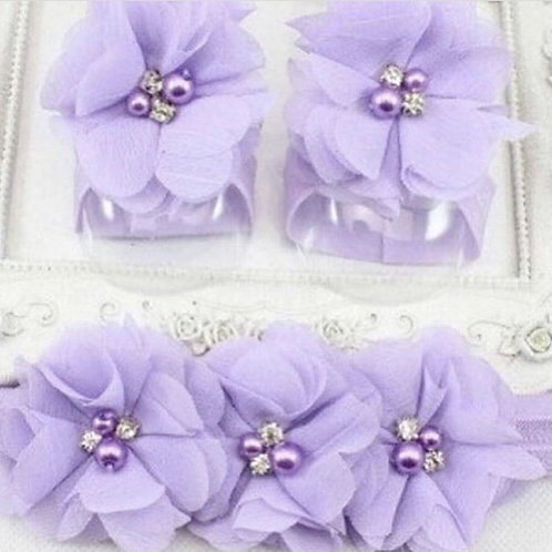 Headband and ankle set lilac - Newborn/Infant NEW