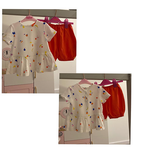 Joules fruit print top & bloomers 18/24m