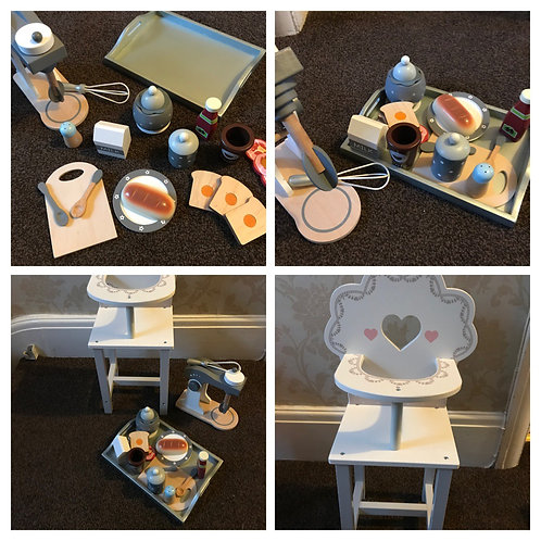 NEW high chair & interactive wooden set - Collect Only BL1