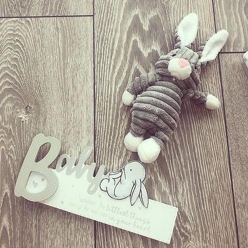 Rabbit baby sign plaque