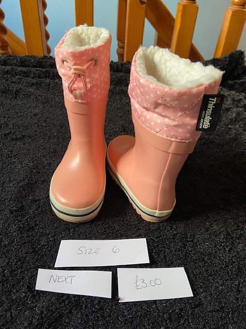 Pink Thinsulate WelliesNext Size 6