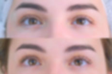 Woman's lashes after and before beauty p