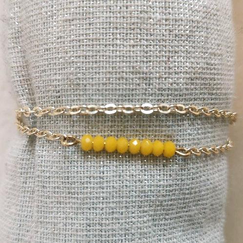 Bracelet chaîne et perles jaune