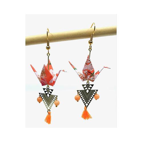 Oiseaux en origami, boucles d'oreilles pour femme