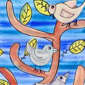Birds _oil pastels