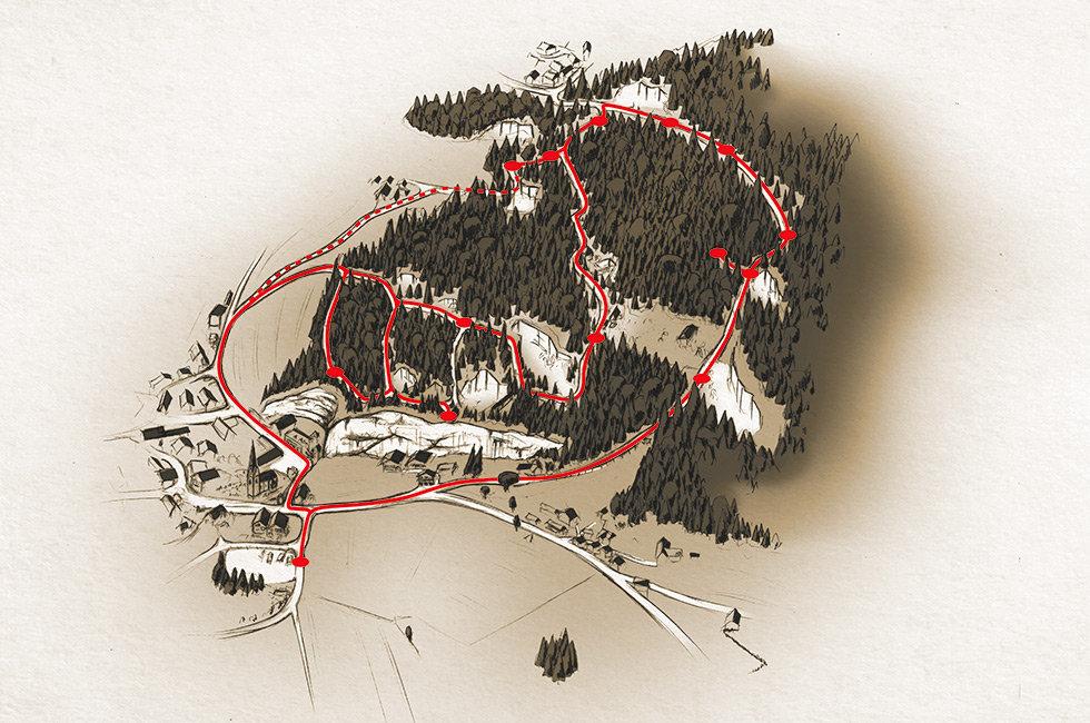 Marmorweg Adnet, Abenteuer: Länge des Weges ca. 3,5 km Gehzeit ca. 2 Stunden.