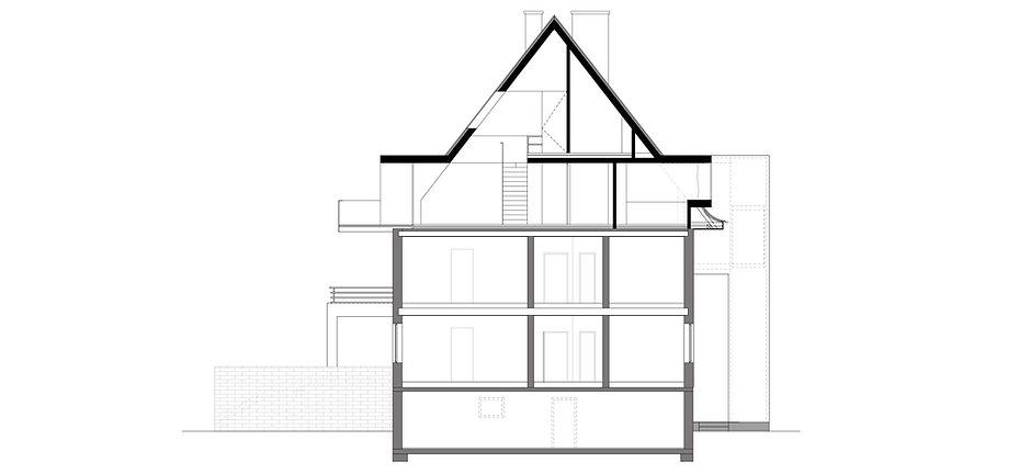 Atelier Querlaengs | Projekte | Architekten | Ziviltechniker | Salzburg | Dachausbau Erzabt Klotz Straße | schnitt_quer