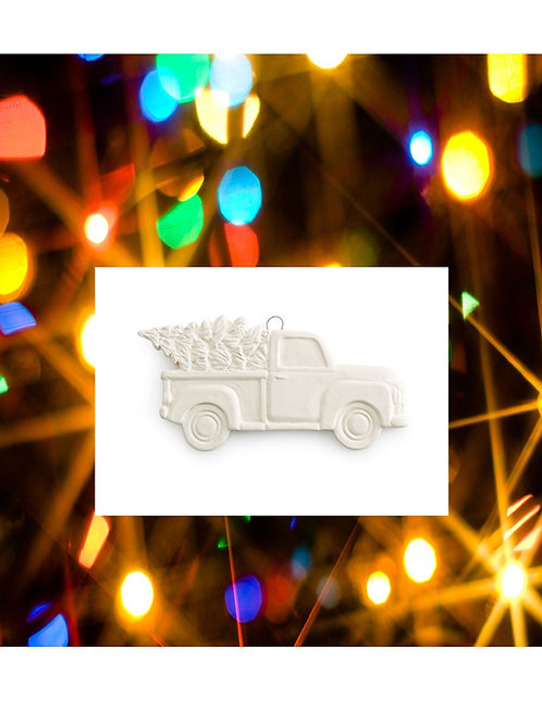 Truck w/Tree Flat Ornament