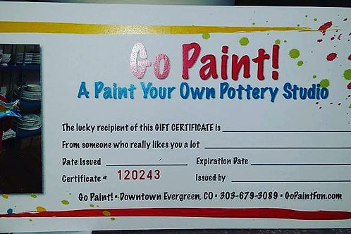 Gift Certificate $15.00
