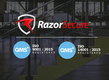 RazorSecure Achieves ISO 9001:2015 and ISO 14001:2015 Certification