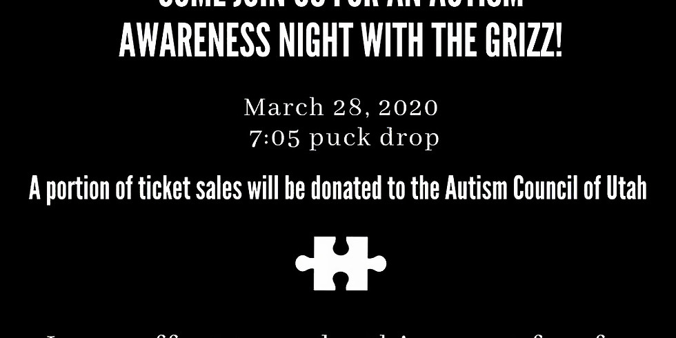 Cancelled ~ Utah Grizz ~ Autism Awareness Night