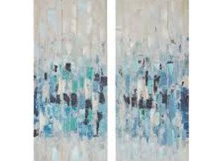 Blue Impression Hand Embellished 2 Piece Canvas Set