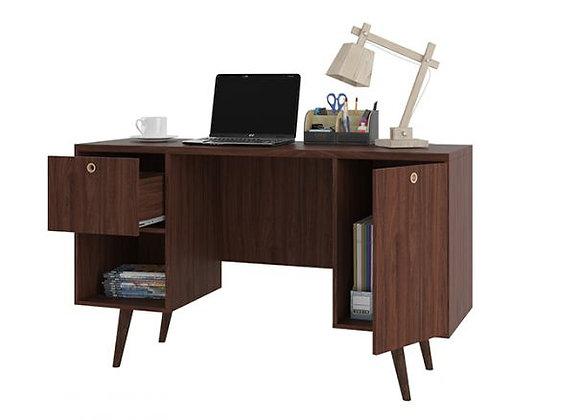 Edgar 1-Drawer Mid Century Office Desk in Dark Brown