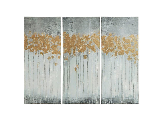 Forest Gel Coated Canvas with Gold Foil (Set of 3)