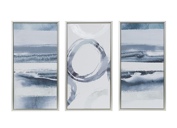 Grey Surrounding Printed Canvas with Gel Coat And Silver Foil (Set of 3)