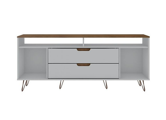 Rockefeller 62.99 TV Stand with metal legs and 2 Drawers in Off White and Nature