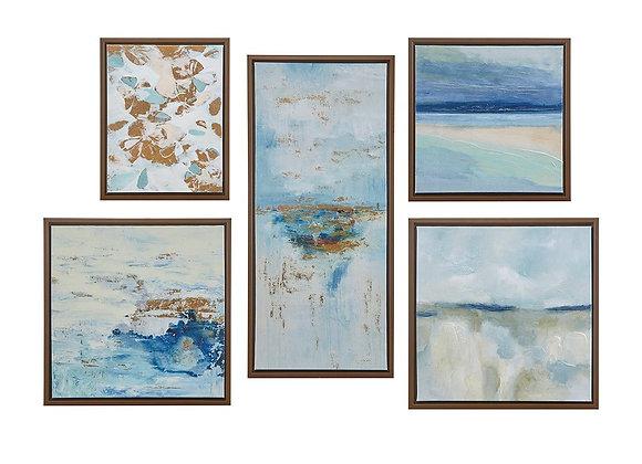 Blue Horizon Gallery Art with Bronze Frame (Set of 5)