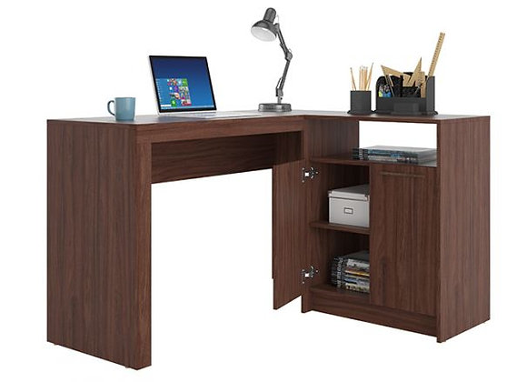 Kalmar L -Shaped Office Desk in Dark Brown