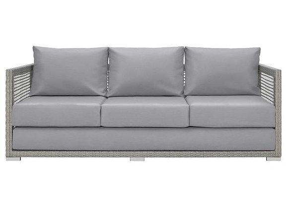 Aura Outdoor Patio Wicker Rattan Sofa in Gray