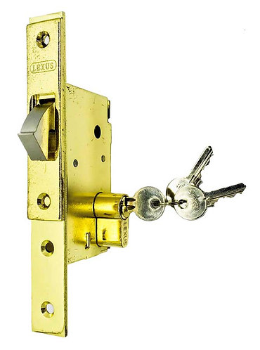 Sliding Door Lock w Single Thumbturn Cylinder L001/705 PB 0116