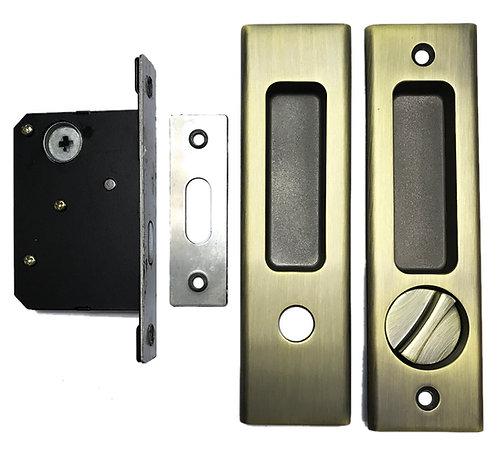 Sliding Door Lockset BK M01 Bath with Coinslot 35mm AB 1109
