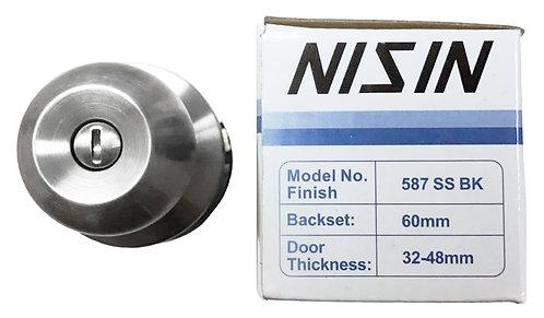 N Cylindrical Lockset 587 BK SS 1129