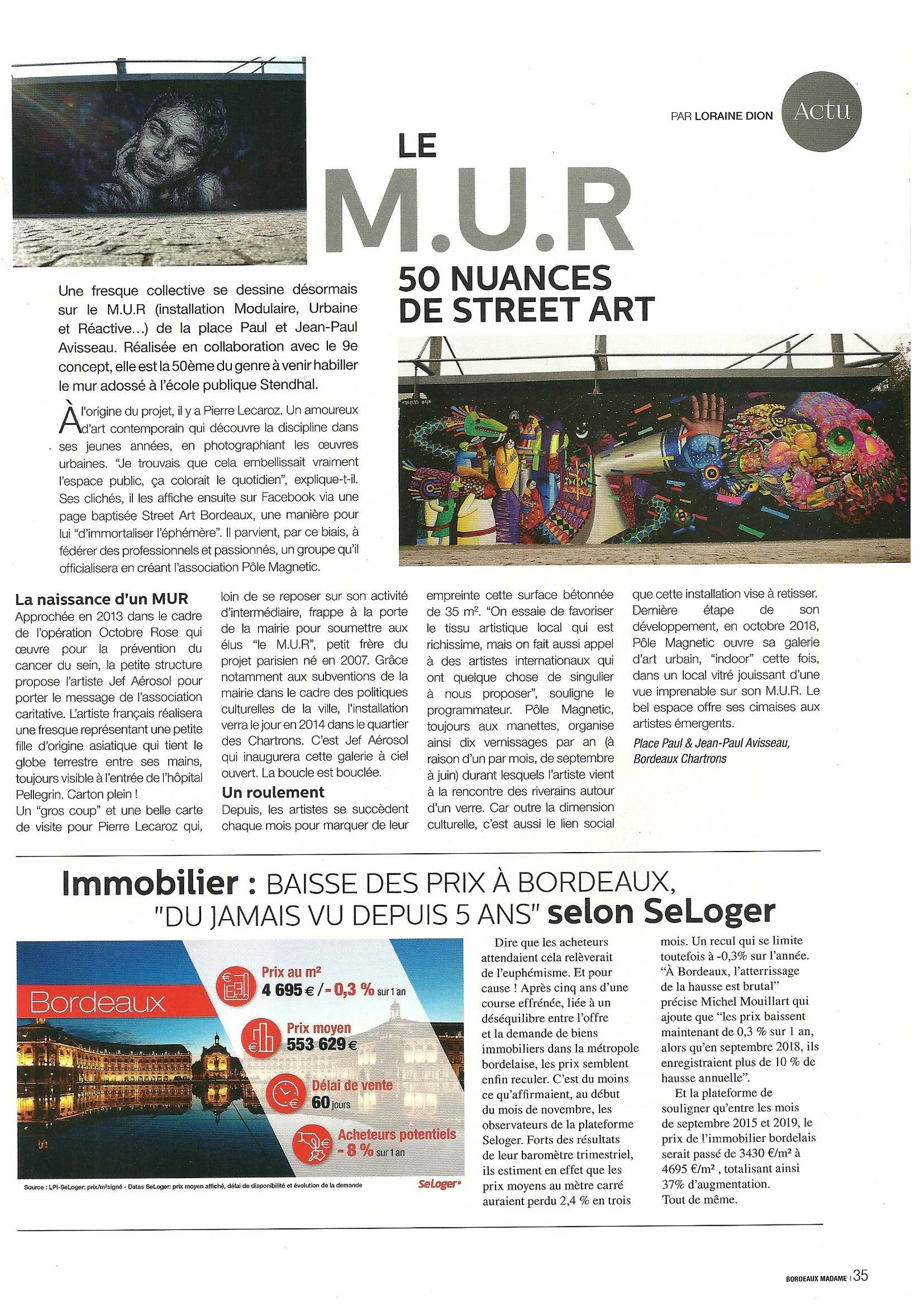 Article paru dans le magazine Bordeaux Madame 2019