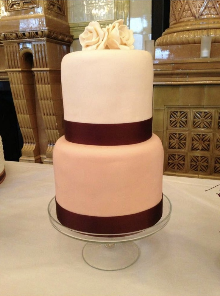 Fondant Rose & Ribbon Cake
