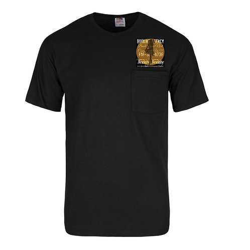 BLK T-SHIRT GLD LOGO W/POCKET