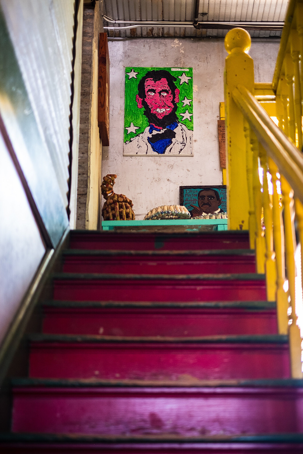 interior stairs and pop art abe lincoln portrait