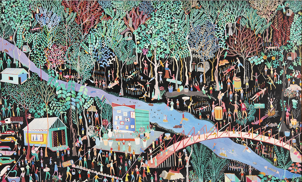 colorful painting in a forest and carnival scene