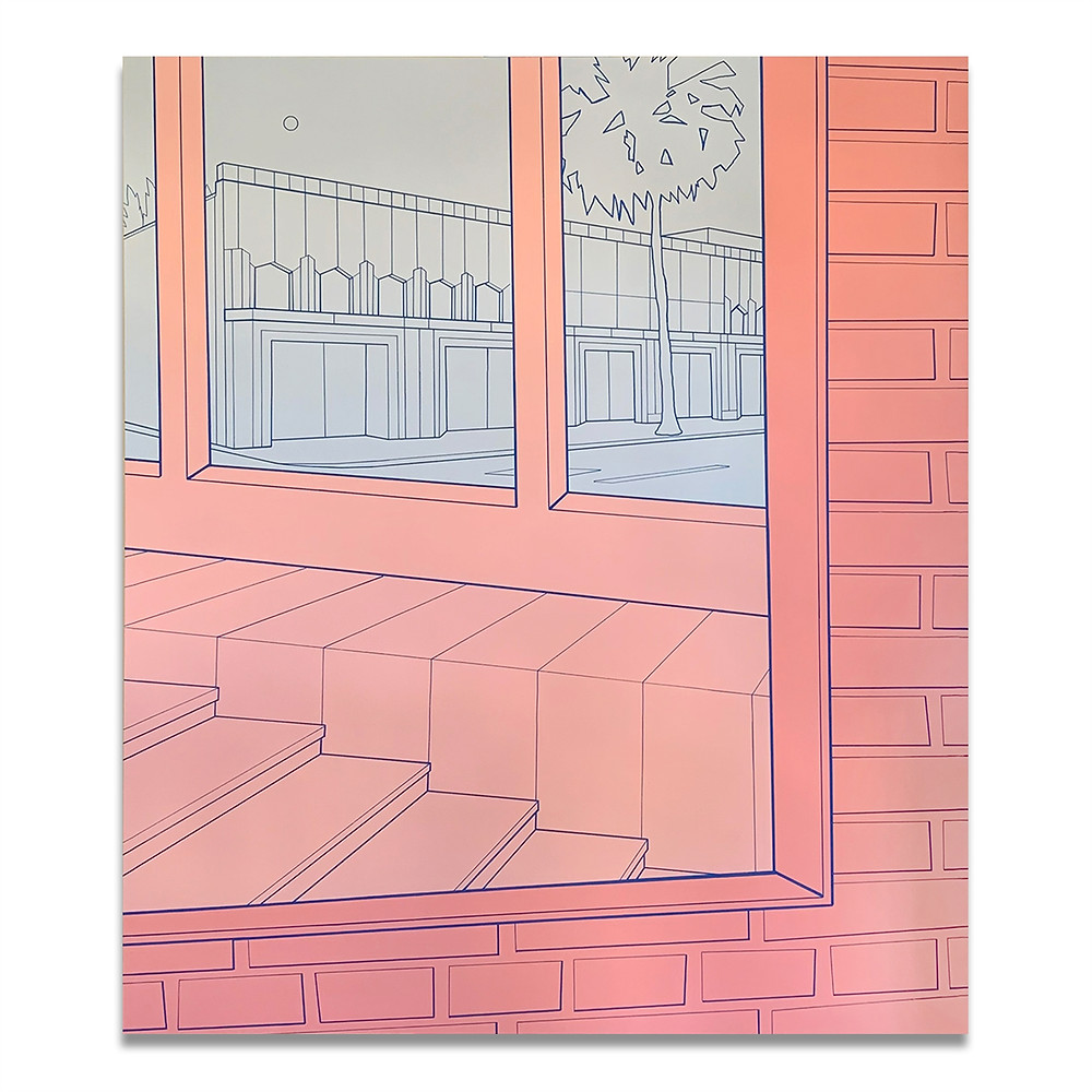 line drawing of window sidewalk from a pink room